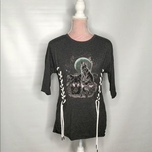 Misguided top with lace detail and cool wolf print